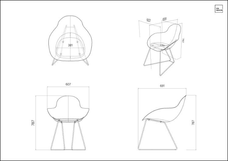 Technische Zeichnung von Ray Chair aus 4 Perspektiven Oben, Vorne, Rechts und Perspektive