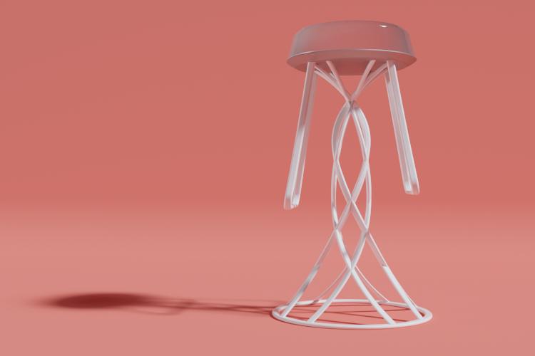 Jellyfish Barstool White Design Edition