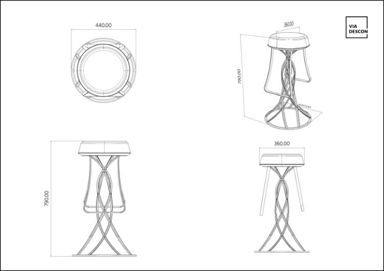 Technische Zeichung Jellyfish Barstool mit bemaßung aus 4 Perspektiven