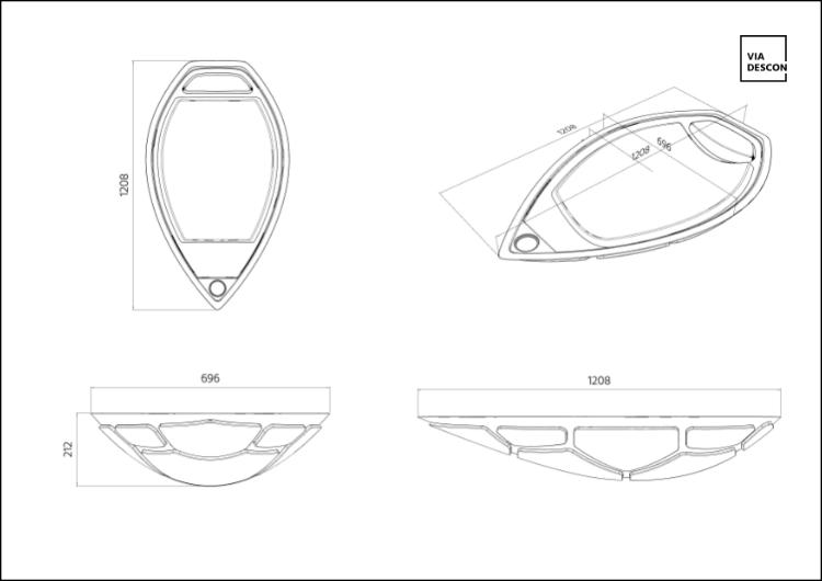 Technische Zeichnung Bemaßung Schwimmsessel Turtle Swimchair 4 Ansichten